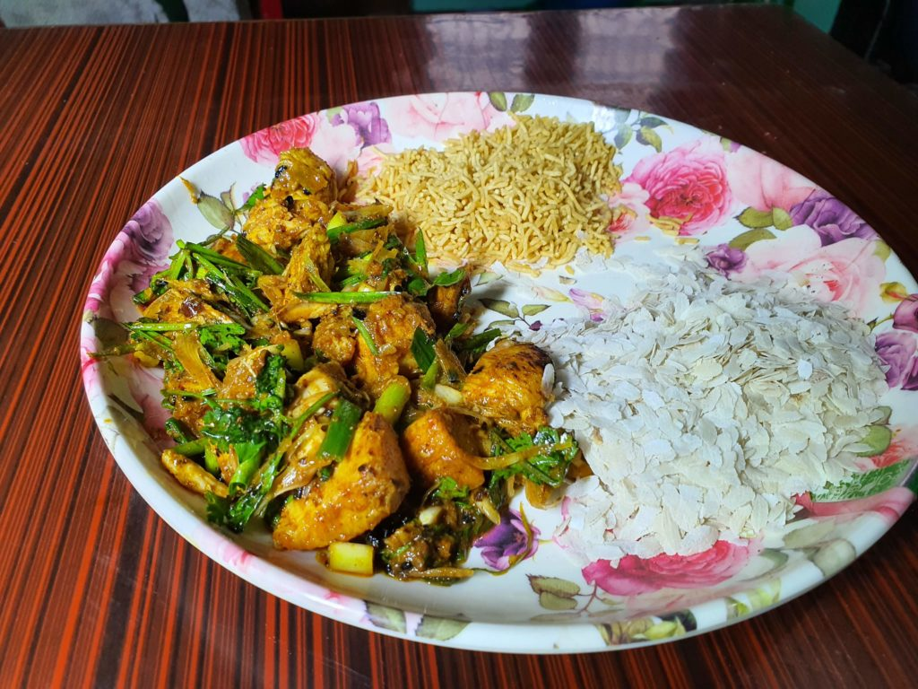 Choila with beaten rice